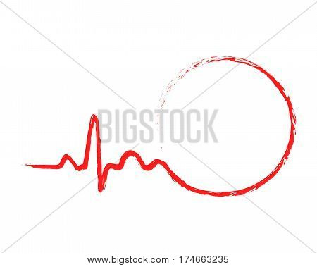Red circle icon with sign heartbeat. Vector illustration. Abstract drawing heartbeat sign in flat design.