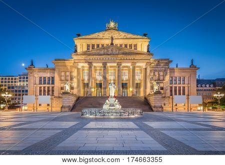 Berlin Concert Hall At Famous Gendarmenmarkt Square In Twilight, Berlin, Germany