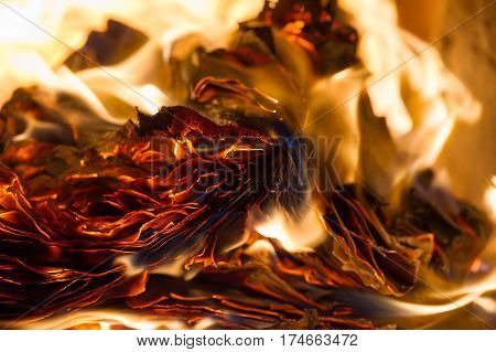 flame when burning the paper in the oven