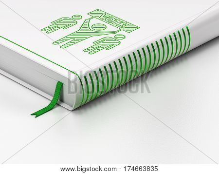Politics concept: closed book with Green Election Campaign icon on floor, white background, 3D rendering
