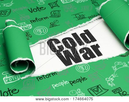 Politics concept: black text Cold War under the curled piece of Green torn paper with  Hand Drawn Politics Icons, 3D rendering