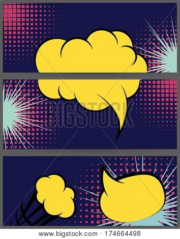 Comic book text dialog empty cloud. For sale banner set. Comic speech balloon explosion on halftone dot background pop art style. Collection abstract creative hand drawn colored blank bubble.