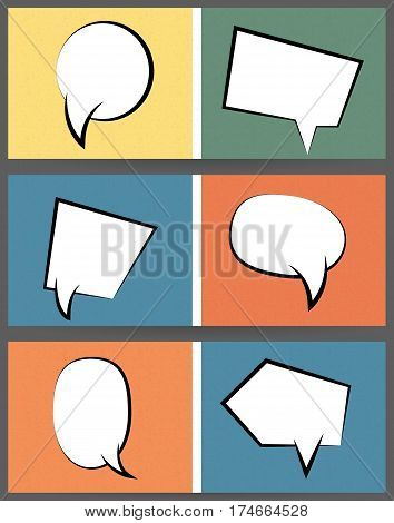Collection vintage texture comic speech balloon on colored  background pop art style. Set abstract creative hand drawn vector white retro blank bubble. Comic book text dialog empty cloud.