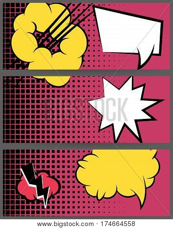 For sale banner set. Comic speech balloon explosion on halftone dot background pop art style. Collection abstract creative hand drawn colored blank bubble. Comic book text dialog empty cloud.