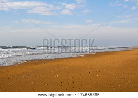 Beautiful landscape of Huelva beach inside a nature reserve in Andalusia Spain