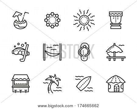 Summer vacations and leisure on tropical beach. Surfing, rest on lounge chair or hammock, cafe with exotic drinks. Collection of simple black line design vector icons.