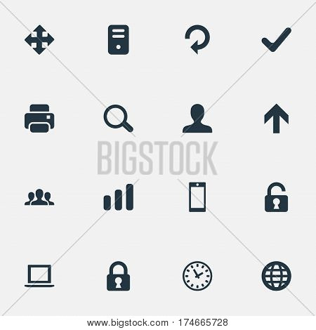 Set Of 16 Simple Practice Icons. Can Be Found Such Elements As Watch, Lock, Arrows And Other.