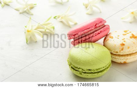 Varicolored macaroons and flowers on a white background in light key. Copy space.