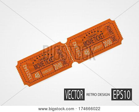 Orange retro cinema ticket. Designer vector illustration isolated on white background. Vintage texture ticket paper in old pop art style. Coupons.