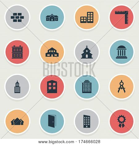Set Of 16 Simple Construction Icons. Can Be Found Such Elements As Popish, Shelter, Reward And Other.