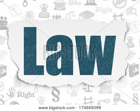 Law concept: Painted blue text Law on Torn Paper background with  Hand Drawn Law Icons