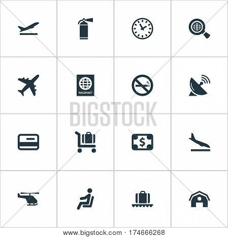 Set Of 16 Simple Transportation Icons. Can Be Found Such Elements As Cigarette Forbidden, Luggage Carousel, Alighting Plane And Other.