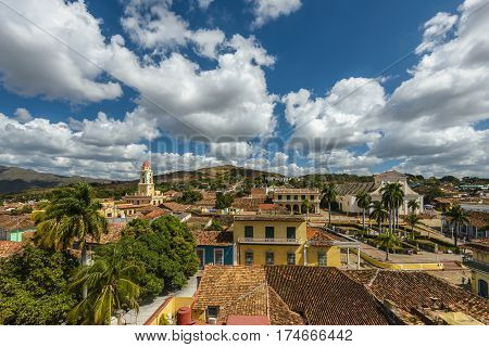 Aerial view of Trinidad skyline including the Convent of Saint Assisi which is currently used as the Museum of the Fight Against Bandits