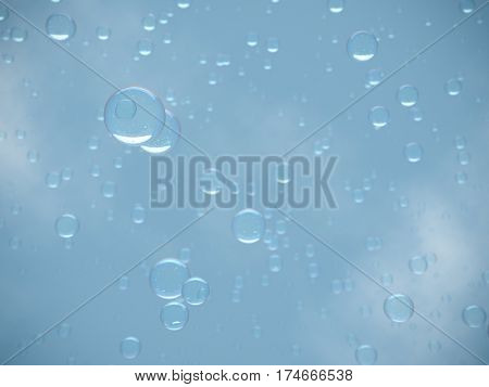 Water bubbles 3d rendering background. On blue