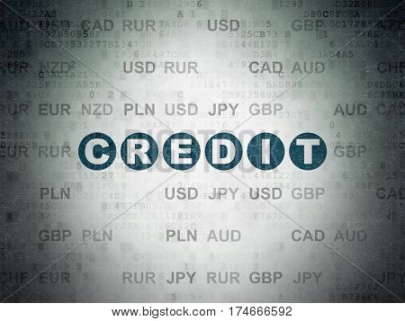 Currency concept: Painted blue text Credit on Digital Data Paper background with Currency