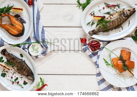 Fish Grill Seafood Fasting Mediterranean Cuisine Restaurant Menu Gourmet Concept