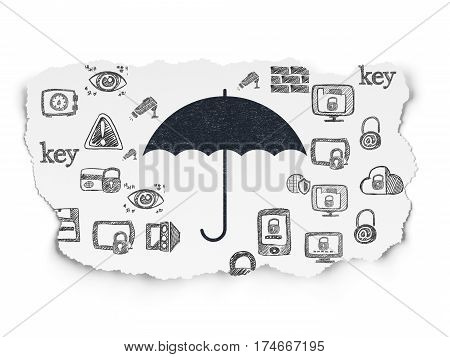 Privacy concept: Painted black Umbrella icon on Torn Paper background with  Hand Drawn Security Icons
