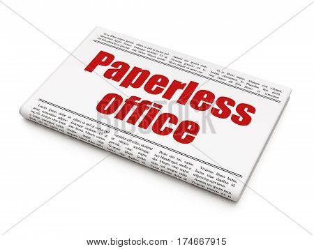 Finance concept: newspaper headline Paperless Office on White background, 3D rendering