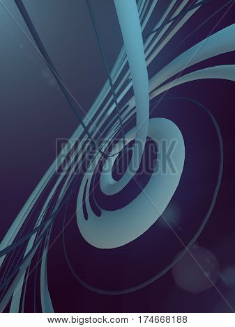 Abstract art helics shape effect background. 3d rendering