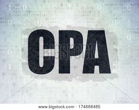 Business concept: Painted black text CPA on Digital Data Paper background with  Scheme Of Binary Code