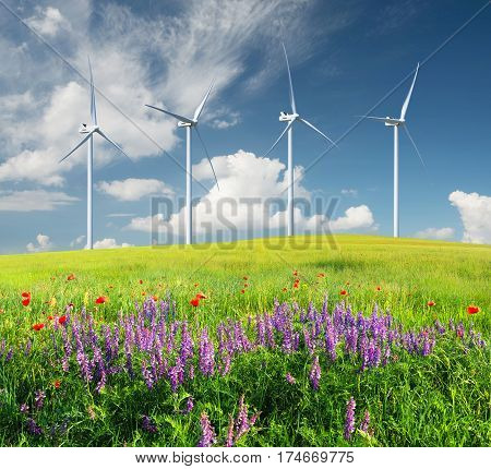 Wind power station. Ecological energy concept and idea
