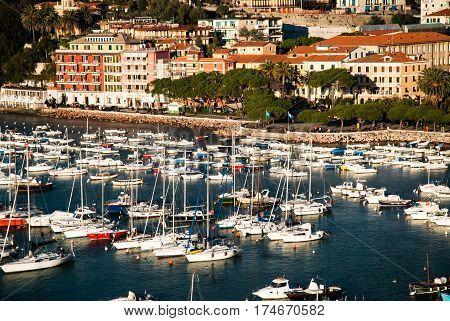 view of lerici in la spezia, its bay and small port