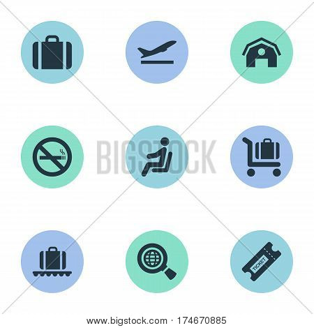 Set Of 9 Simple Airport Icons. Can Be Found Such Elements As Cigarette Forbidden, Baggage Cart, Seat And Other.