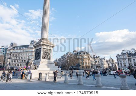 London, England - 24 February 2017 : People Walking Around Trafalgar Square, The Public Square In Th