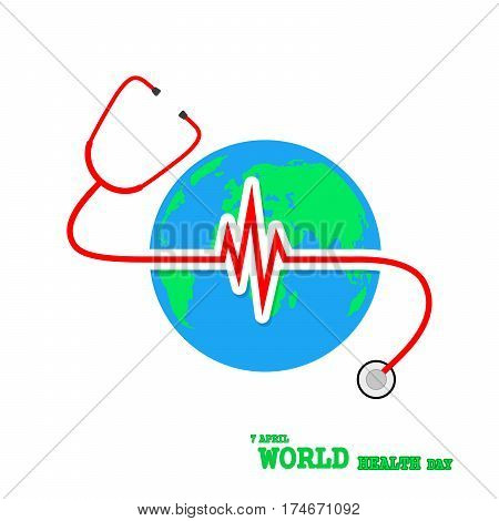 World health day. Vector Illustration. Globe Earth with stethoscope and Heartbeat sign on white background.