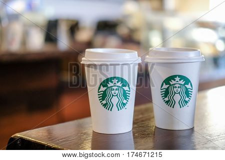 Edinburgh, United Kingdom - 14 Febuary 2017 : Starbucks Take Away, Hot Beverage Coffee Cup With Logo