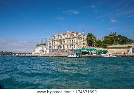 The building of the Maritime aquarium at artillery Bay of Sevastopol. Crimea Ukraine. June 2006