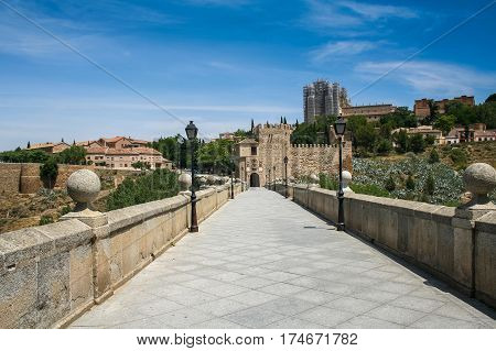 The St. Martin bridge over the Tagus River in Toledo city in Central Spain capital of province of Toledo and the Autonomous community of Castile -- La Mancha. Spain. May 2006