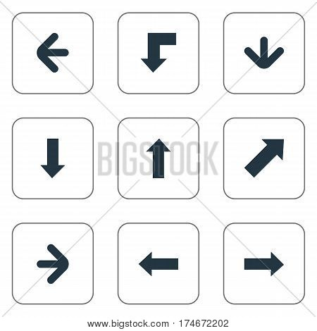 Set Of 9 Simple Indicator Icons. Can Be Found Such Elements As Right Direction, Upward Direction, Left Direction And Other.