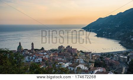 Panoramic view of Vietri sul Mare town at synset Campania Italy