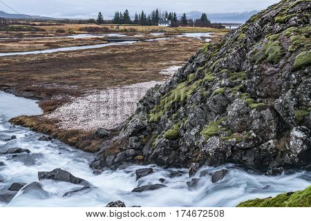 Thingvellir National Park Iceland is a UNESCO World Heritage Site and popular travel destination located along the Golden Circle northeast of Reyjavik
