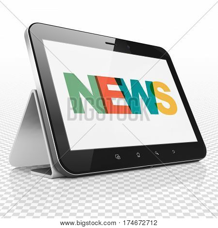 News concept: Tablet Computer with Painted multicolor text News on display, 3D rendering