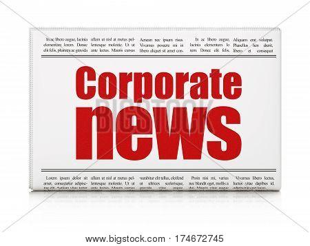 News concept: newspaper headline Corporate News on White background, 3D rendering
