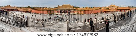 Beijing, China - Oct 30, 2016: Panorama of the area surrounding the Gate of Heavenly Purity, or Celestial Purity (Qianqingmen). Forbidden City (Gu Gong, Palace Museum).