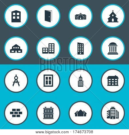Set Of 16 Simple Architecture Icons. Can Be Found Such Elements As School, Engineer Tool, Glazing And Other.