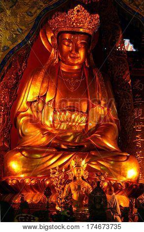 Putuoshan Island, China - Nov 11, 2007: Large Golden Statue Of Avalokitesvara Bodhisattva (guan Yin)