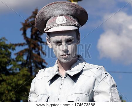 Moscow, Russia - Sept 7, 2014: Living Statue Of A  Russian Policeman On A Holiday Devoted To The Cit