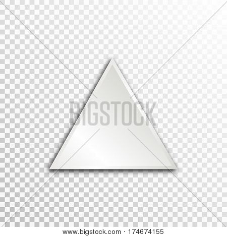 Empty white paper plate base for text. Simple triangle form card on transparent background.