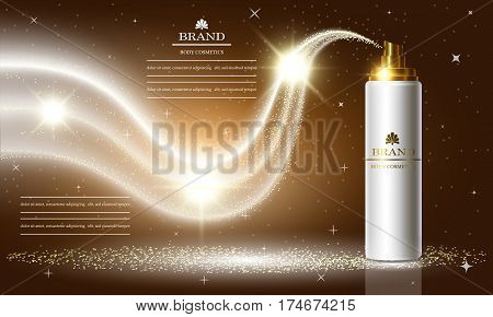 Cosmetics beauty series ads of premium spray cream for skin care. Template for design poster placard presentation banners cover vector illustration.