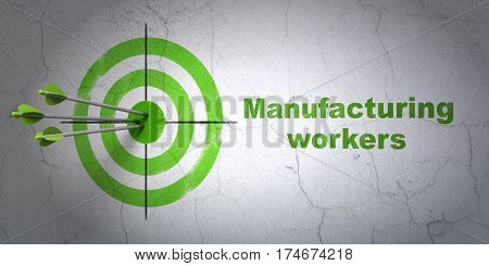 Success Industry concept: arrows hitting the center of target, Green Manufacturing Workers on wall background, 3D rendering