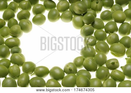 Fresh Raw Green Peas On White Background