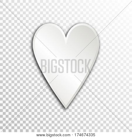 Empty white paper plate base for text. Simple heart form card on transparent background.