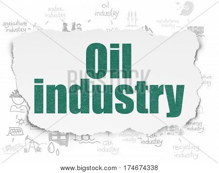 Industry concept: Painted green text Oil Industry on Torn Paper background with Scheme Of Hand Drawn Industry Icons