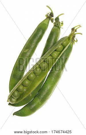 Fresh Raw Green Peas Within A Pods On White Background