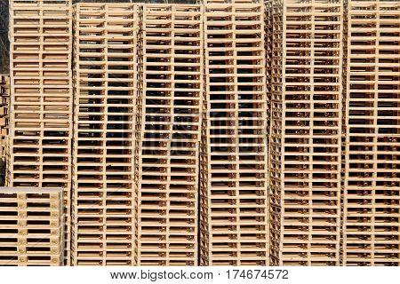 wooden pallets on stock in factory backyard