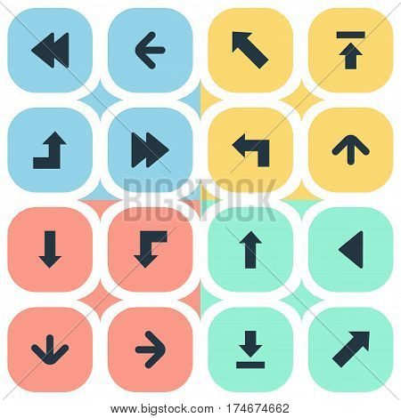 Set Of 16 Simple Indicator Icons. Can Be Found Such Elements As Let Down, Increasing, Transfer And Other.